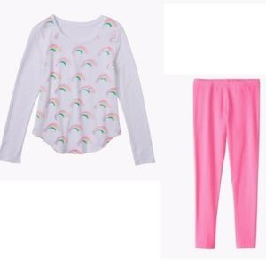Foil Rainbows Tee and Pink Leggings size 16
